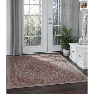 Alise Rugs Colonnade Traditional Medallion Area Rug - 53 x 73 (brown)