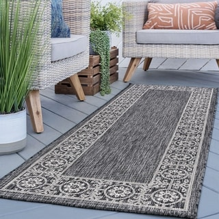 Alise Rugs Colonnade Black Traditional Area Rug (2'7'' x 7'3'')