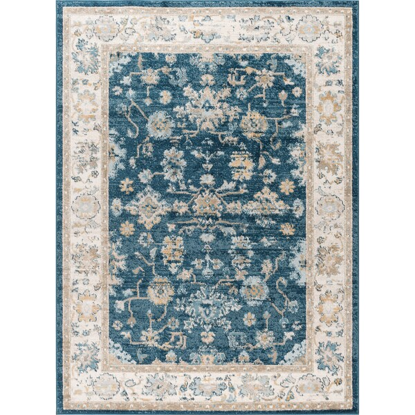 Alise Rugs Parker Navy Traditional Area Rug (7'10x10'3)
