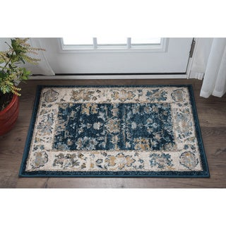 Alise Rugs Parker Navy Traditional Area Rug (2' x 3') (Option: Cream)