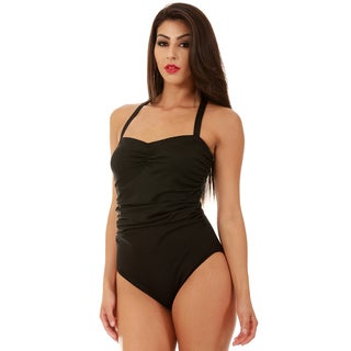 InstantFigure One-Piece Shirred Bandeau Swimsuit (Option: 6)