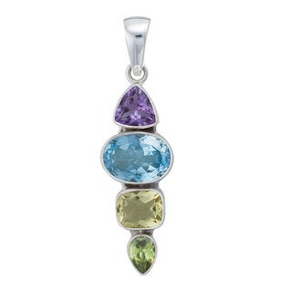 Handmade Sterling Silver Multi-Gemstone Pendant (Mexico)