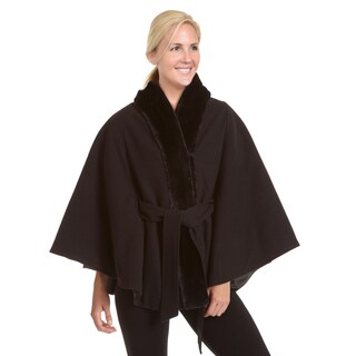 Excelled Women's Plus Faux Wool Belted Cape