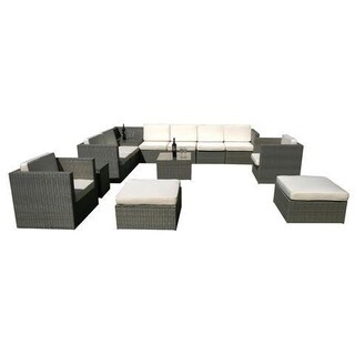 Mcombo 13 pcs Grey Wicker Patio Sectional Sofa Furniture Set Sofa