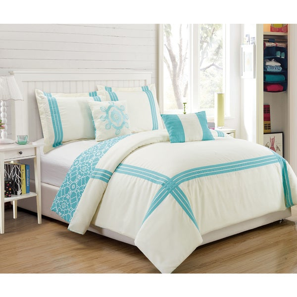 RT Designers Collection Brentwood Oversize Blue 5-Piece Reversible Hotel Comforter Set