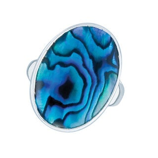 Handmade Silver Abalone Adjustable Ring(Mexico)