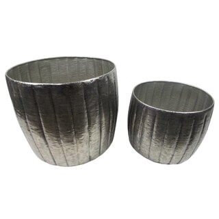 Gold Eagle Silvertone Metal Planters (Set of 2)