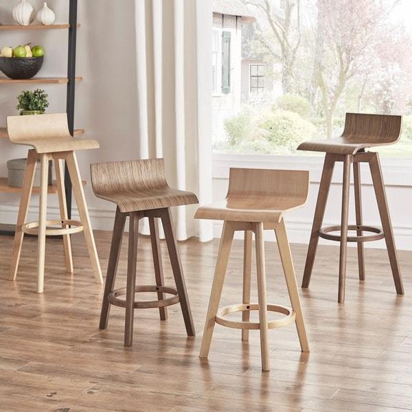 "ellery-mid-century-modern-swivel-wood-stool-(set-of-2)-inspire-q-modern---29""-bar---natural by inspire-q"