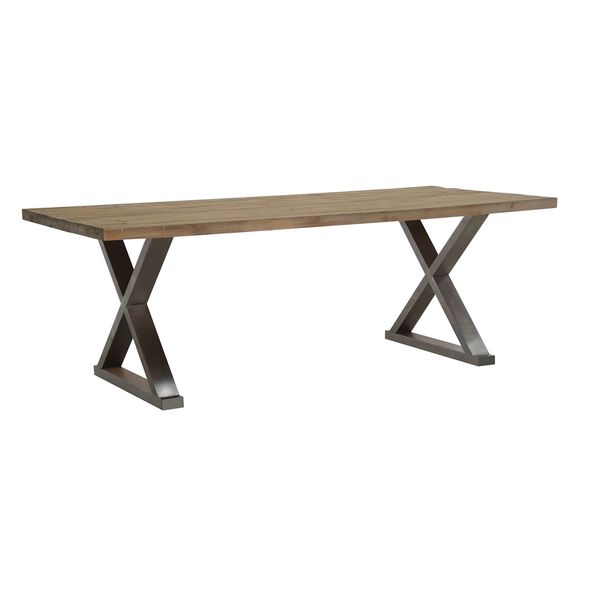 distressed metal furniture. Burnham Home Designs Paxton Dining Table, Natural Finish With Distressed Metal Furniture
