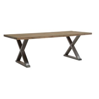 Burnham Home Designs Paxton Dining Table, Natural Finish with Distressed Metal