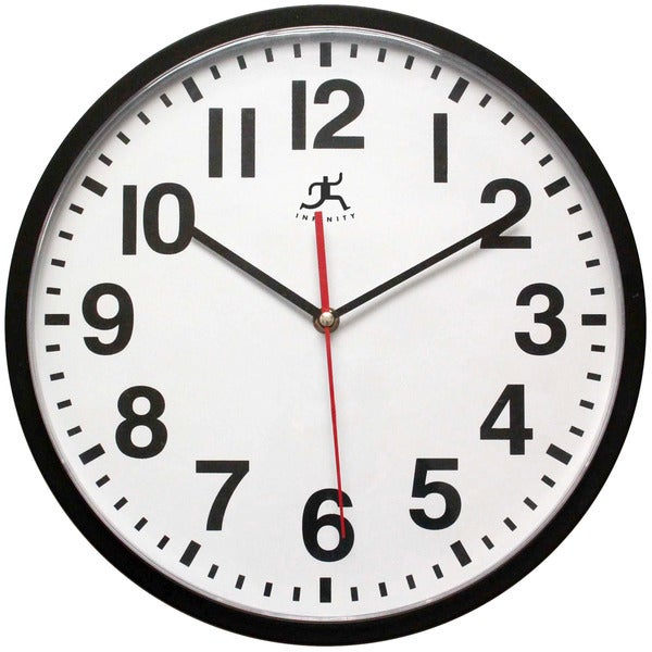Pure Black Office Round Black Wall Clock 13 inch by Infinity Instruments - 3 x 16 x 15