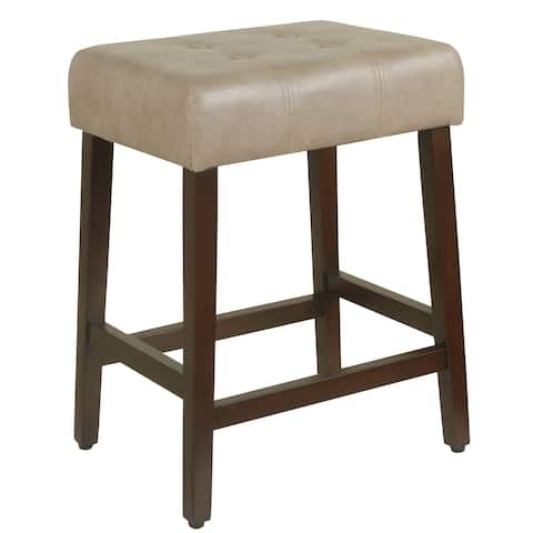 """HomePop Tufted Faux Leather 24"""" Counter Stool - Taupe"""