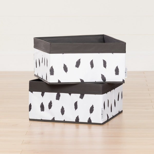 South Shore Storit White/Grey Baskets Feathers Print, 2-Pack