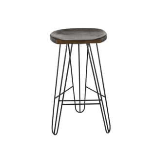 Benzara Brown Wood Iron Barstool