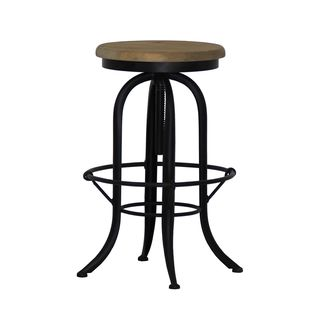 Burnham Home Designs Lockport Black/Natural Adjustable Swivel Bar Stool