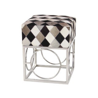 Benzara Artistically Designed Multicolored Leather Patch Stool