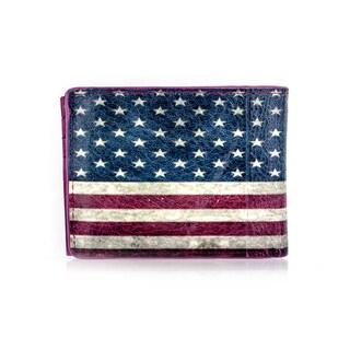 Faddism YAALI Series Men's USA Flag Genuine Leather Bifold Wallet