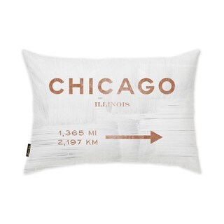 Oliver Gal 'Chicago Road Sign Copper' Decorative Throw Pillow