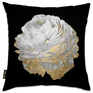 Oliver Gal 'Gold and Light Floral' Decorative Throw Pillow