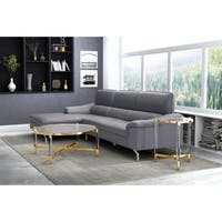 Zuo Existential Goldtone Finish Glass Coffee Table