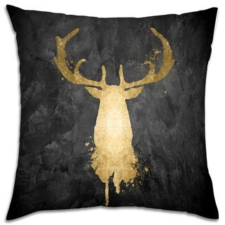 Oliver Gal 'Stag Majesty Gold' Decorative Throw Pillow