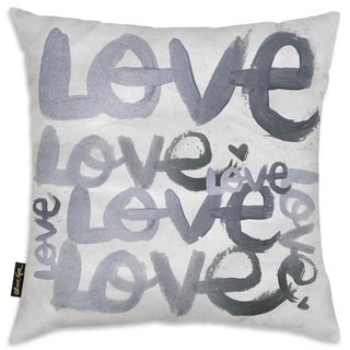 Oliver Gal 'Four Letter Word Silver' Decorative Throw Pillow