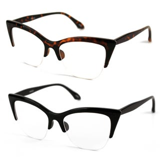 Pop Fashionwear P4022CL 1950's Vintage Style Cat Eye Clear Lens Glasses (2 options available)
