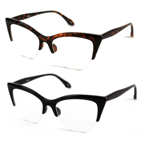 Pop Fashionwear P4022CL 1950's Vintage Style Cat Eye Clear Lens Glasses