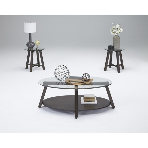 Progressive Royden Brown Wood Glass Cocktail and End Tables (Set of 3)