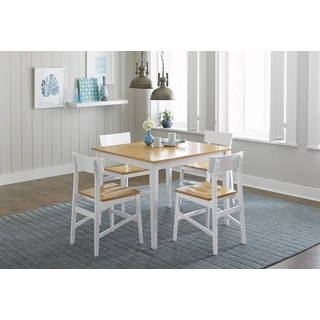Progressive Christy Light Oak and White Rubberwood Dining Table