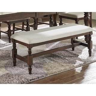 Progressive Sanctuary Brown Wood Upholstered Dining Bench