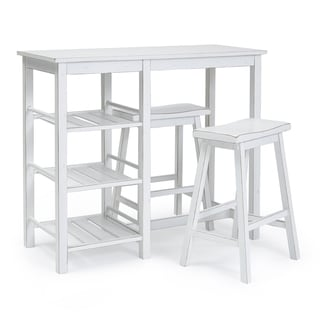 Progressive Distressed White Breakfast Club Counter Table With 2 Stools