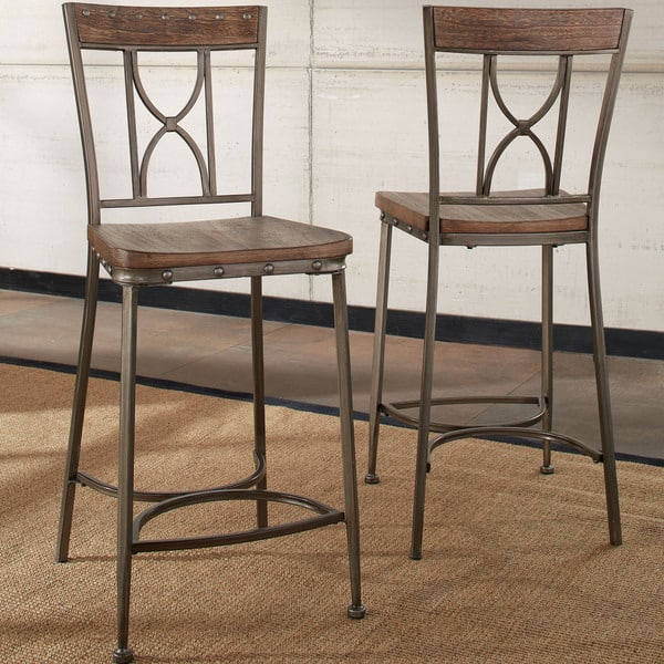newest collection df793 2610e Hillsdale Furniture Paddock Brushed Steel Distressed Non-Swivel Counter  Height Stools (Set of 2