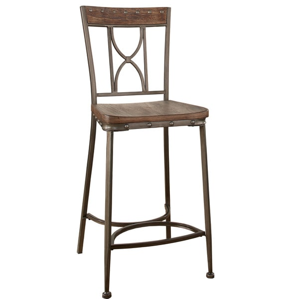 Hillsdale Furniture Paddock Brushed Steel Distressed Non-Swivel Counter Height Stools (Set of 2