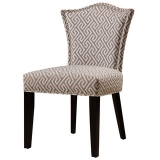 Grey and Vintage White Upholstered  Fabric Dining Chair