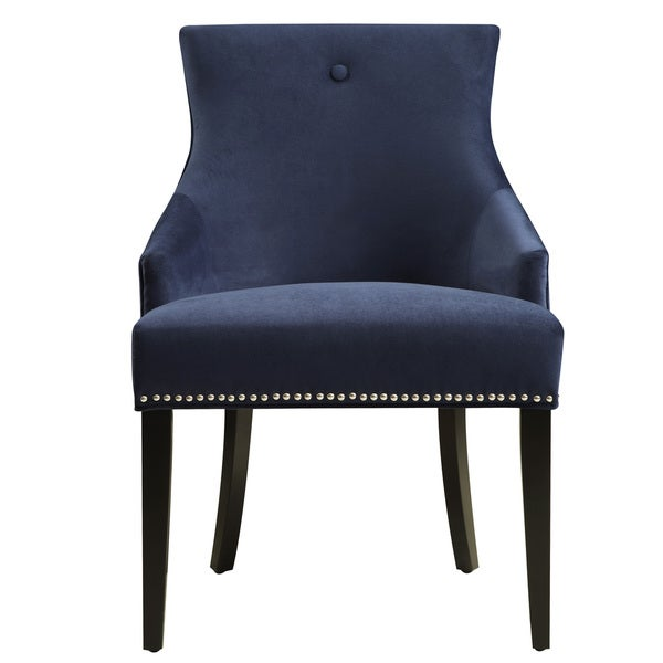 Navy Upholstered Fabric Dining Chair with Nail head Trim  sc 1 st  Overstock.com & Shop Navy Upholstered Fabric Dining Chair with Nail head Trim - On ...