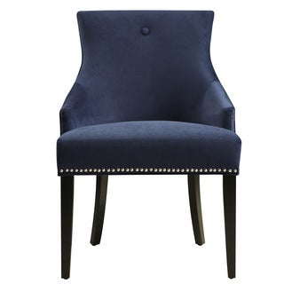Navy Upholstered  Fabric Dining Chair with Nail head Trim
