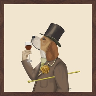 Beagle Wine Snob' Framed Painting Print