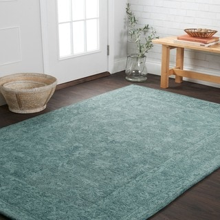 Hand-hooked Opal Teal Rug (5' x 7'6)