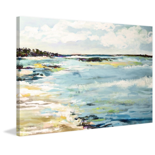 Beach Surf III' Painting Print on Wrapped Canvas - Blue
