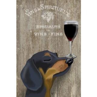 Marmont Hill - Handmade Dog Au Vin Dachshund Print on Wrapped Canvas