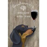 Dog Au Vin Dachshund' Painting Print on Wrapped Canvas - Black