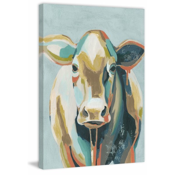 Colorful Cows II' Painting Print on Wrapped Canvas