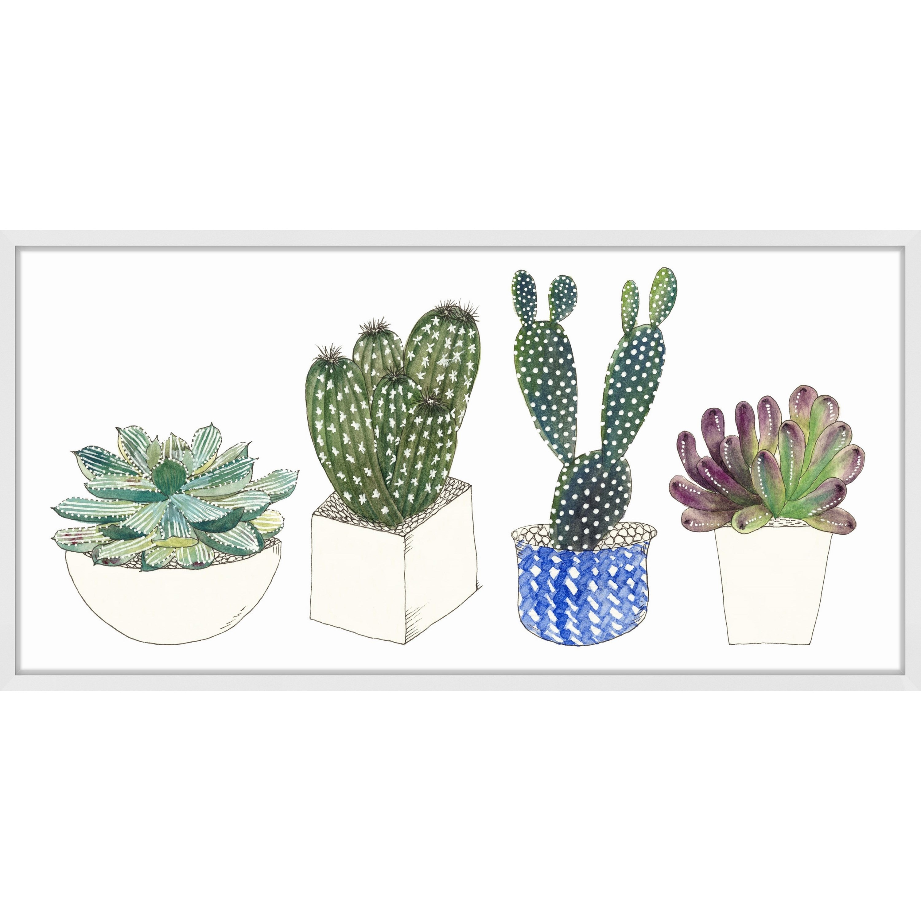 Four Succulents II' Framed Painting Print (24 x 12), Mult...
