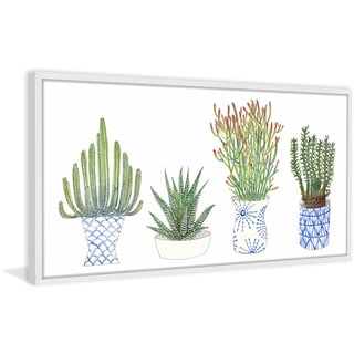 Four Succulents I' Framed Painting Print