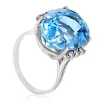 Women's 18K White Gold Diamond & Aquamarine Cocktail Ring