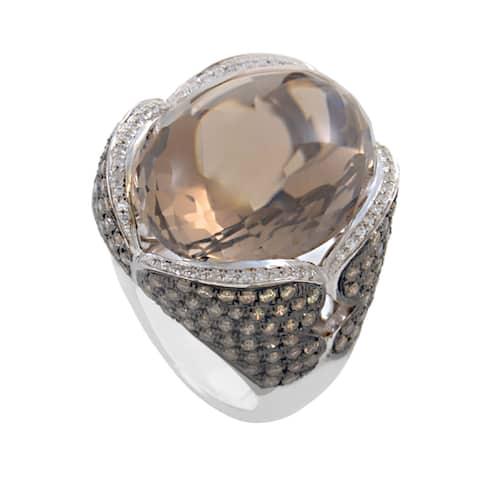 18K White Gold Smokey Topaz & Brown Diamond Ring HF02020R-W-ST