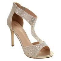 DE BLOSSOM COLLECTION FI72 Women's Stiletto Heel Ankle Strap Sparking Sandals