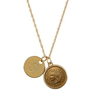 American Coin Treasures Gold-Layered Indian Head Penny with Personalized Disc Charm Goldtone Coin Pendant Necklace