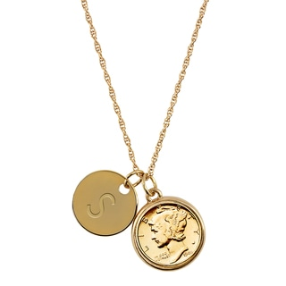 American Coin Treasures Gold-Layered Silver Mercury Dime with Personalized Disc Charm Goldtone Coin Pendant Necklace